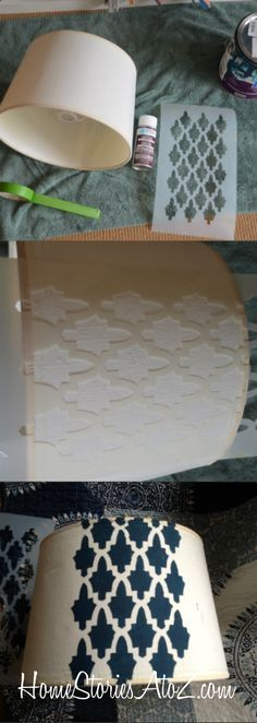 DIY Stenciled Lampshade by Beth Hunter of Home Stories A to Z | Moroccan Arches Allover Stencil by Royal Design Studio