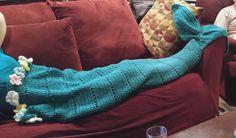 Crochet mermaid blanket with flowers
