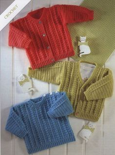 Crochet Cardigan and Sweater Vintage Pattern Sizes Newborn to 6 years V-Neck jacket sweater pullover clothes jumper pdf instant download