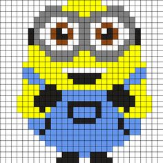 Cute_BOB_ by FruitfulEden on Kandi Patterns Mini Cross Stitch, Cross Stitch Fabric, Cross Stitching, Minion Crochet, Pixel Crochet, Pixel Art Templates, Perler Bead Templates, Fair Isle Knitting Patterns, Loom Patterns