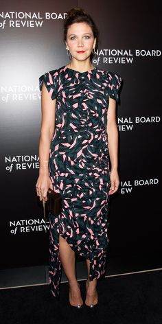 Maggie Gyllenhaal brought her quirky-chic style to the National Board of Review Gala with a hypnotically printed Marni dress with ruched detailing and an asymmetric hem, accessorizing with gold hoops, a geometric clutch, and embellished pumps.