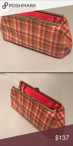 """Custom made clutch Tweed pattern material outside and Italian silk lining inside 10"""" by 6"""".  Chain could be added. NO TRADES Custom Bags Clutches & Wristlets"""