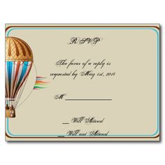 Vintage Hot Air Balloon Wedding RSVP Postcard