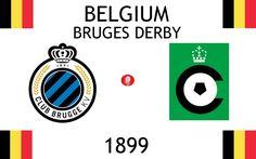 1899, Belgium (1st BRUGES DERBY), Club Brugge KV < > Cercle Brugge K.S.V. #ClubBruggeKV #CercleBruggeKSV #Belgium (L18652) Sports Logos, Football Match, Bruges, Bmw Logo, Belgium, Derby, Logo Design, Club