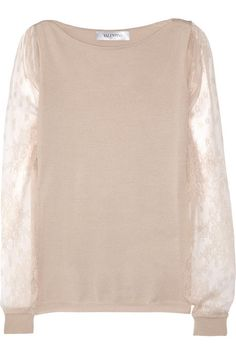 romantic look by Valentino Lace-sleeved fine-knit wool-blend sweater  sheer sleeves!