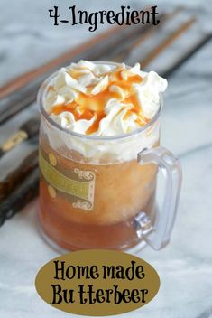 copycat frozen butterbeer will remind you of visiting the Wizarding World of Harry Potter. This homemade butterbeer recipe is easy to make and can be enjoyed by kids and adults. Make butterbeer for your next Halloween party. Bolo Harry Potter, Harry Potter Drinks, Harry Potter Food, Harry Potter Butterbeer, Harry Potter Recipes, Harry Potter Adult Party, Harry Potter Desserts, Harry Potter Treats, Beer Recipes