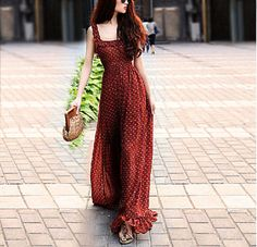Bohemian Dress Floral Brick Red Tunic Dress Beach Dress Full Pleated Skirt Evening Prom Ball Gown Cocktail Backless Wrap Strap Holiday Dress