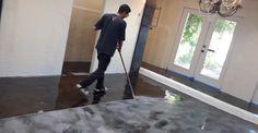 Salon Floor Makeover - The Concrete Network Diy Concrete Stain, Concrete Floor Coatings, Concrete Pool, Stained Concrete, Concrete Floors, Epoxy Concrete, Metallic Epoxy Floor, Pool Decks, Salons