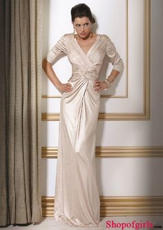 Elegant Sheath Ruched Half Sleeves V-neck Empire Satin wedding party mother of the bride dress WPMD-9507
