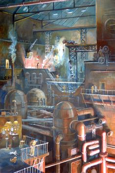 """""""Industry 29th August"""" by Phil Lockwood  An older painting extensively reworked. Acrylic on Board"""