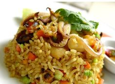 Seafood and red curry paste Thai fried rice.