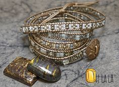 Wrap Bracelet with Crystals and Beads on Pearl Leather with Bronze Button