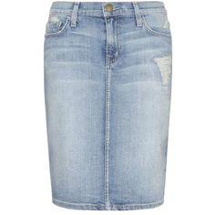 Current/Elliott Denim Skirt ($145) ❤ liked on Polyvore featuring skirts, blue, blue skirt, current elliott skirt, knee length denim skirt, denim skirt and blue denim skirt