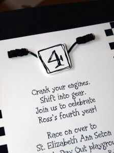 Motorcross / ATV birthday invite: Crank your engines, shift into gear, join us to celebrate, Ross's 4th year!