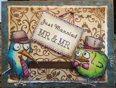 Just Married: Mr. & Mr. Two groom wedding card. Tim Holtz crazy birds, crazy things, distress inks, stitched die, Spectrum Noir markers, glossy accents, Wink of Stella.