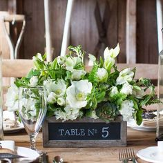 Simple Floral Wedding Centerpieces in wooden box with succulents ...
