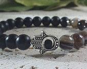 Men's Bracelet, Men Bracelet, Hamsa Bracelet, Black Matte Onyx - Agate Bracelet, Prayer Mala Bracelet, Energy for Life,  Free Shipping