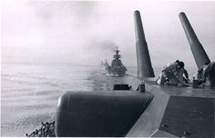 Kriegsmarine ships: Tirpitz (BB w/guns) followed by: Scheer (CA), Köln (CL) and Nürnberg (CL) in 1941.