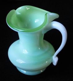 Jadeite Cased Glass Kanawha Style Blown Art by CherishYesterday