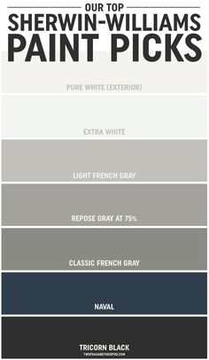 grey exterior house colors When Maria and Josh built a new home, choosing the paint colors was, at first, overwhelming. But along the way they learned a thing or two, and they're sharing their tipsand their top Sherwin-Williams paint picks. Exterior Paint Colors For House, Interior Paint Colors, Paint Colors For Home, Exterior Colors, House Siding Colors, Grey Siding House, Outside House Paint Colors, Navy Paint Colors, Exterior Paint Color Combinations