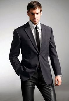business man in leather pants by Officeleather, via Flickr