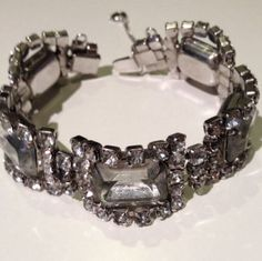 Vintage+Rhinestone+Bracelet+silver+setting+w/clear+stones