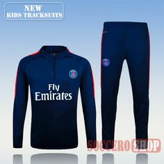 Top Quality:New Fashion Kids PSG Paris Saint Germain 2016 2017 Navy Blue Tracksuit Personalised Customised
