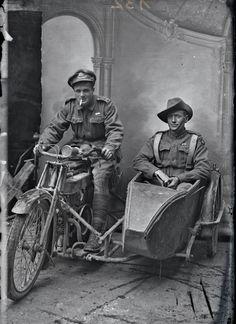 Two Australian soldiers on leave in France,c. 1916 (Sidney Hubert Carroll is in the side car)