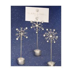 winter wedding decor, snowflake place card holder