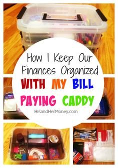 When it's time to pay bills are you looking around for your checkbook, online passwords, statements or even your debit card? Well, I have just the solution for you. I have designated a bill paying caddy that I use to pay all of my bills, fill out rebates and perform banking duties. I love this system!