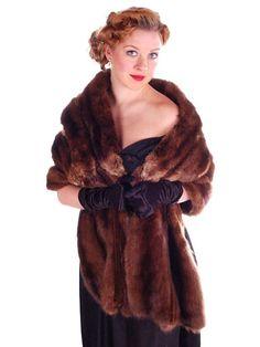 VINTAGE Sable Fur Stole Movie Star Quality 1940's