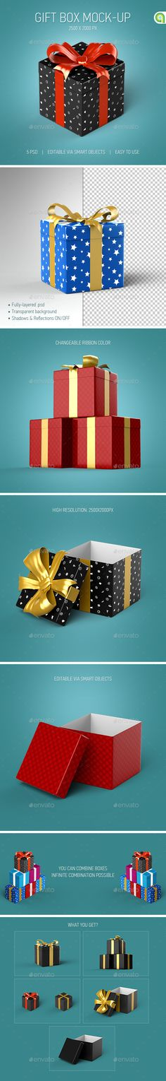 Gift Box Mock-Up This Professional Gift Box Mock-Up is perfect for your posters, flayers, web apps, baners and ect.  Get it Gift Box Mockup here: http://graphicriver.net/item/gift-box-mockup/9454845?ref=Ayashi