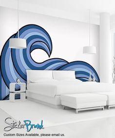 Wall Mural Decal Sticker Arco Ocean Wave Blue Color MCrespo121 | stickerbrand - Housewares on ArtFire
