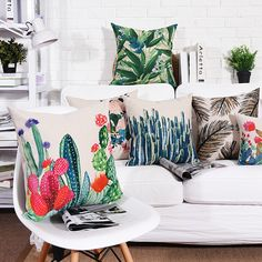 Square Tropical Plant Cotton Linen Cushion Cover Sofa Decorative Throw Pillow Car Chair Home Decor Pillow Case almofadas Cushion Covers, Pillow Covers, Cactus Cushion, Car Chair, Floral Throws, Hotel Decor, Tropical Plants, Home Textile, Cotton Linen