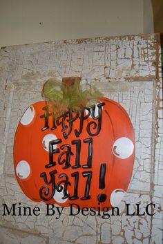 Pumpkin Door Sign, door hanger, wooden door hanger, Happy Fall Sign. $30.00, via Etsy.