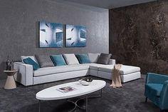 Divani Casa Whitley Ultra Modern Grey Fabric Sectional Sofa with Ottoman