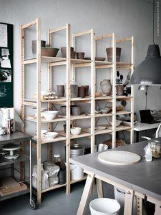 Pottery stored in IVAR solid pine shelving unit IKEA Ceramic Workshop, Pottery Workshop, Ceramic Studio, Pottery Studio, Clay Studio, Workshop Studio, Home Workshop, Ikea Inspiration, Ivar Regal