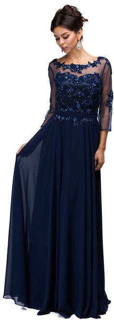Mother of Bride Evening Dresses UNDER $200<BR>aqn9473<BR>Illusion scoop neckline over sweetheart bodice, 3/4 sleeves, with beaded appliques to long skirt.