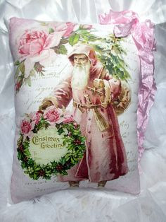 Pink Roses SANTA Pillow Pink CHRISTMAS Pink by ThePeonyShanty
