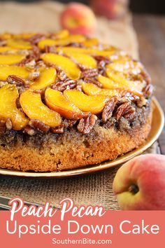 This recipe for Peach Pecan Upside Down Cake starts with a boxed cake mix, but is transformed into something amazingly delicious! It& the perfect spring and summer dessert for nearly any occasion! Köstliche Desserts, Delicious Desserts, Dessert Recipes, Yummy Food, Boxed Cake Recipes, Jello Deserts, Fruit Recipes, Strawberry Upside Down Cake, Pineapple Upside Down Cake