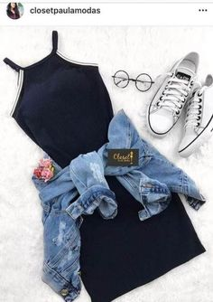 Outfits como chamarra de mezclilla…👗👑 - Oven Tutorial and Ideas Tumblr Outfits, Swag Outfits, Cute Casual Outfits, Pretty Outfits, Stylish Outfits, Tumblr Clothes, Casual Clothes, Girls Fashion Clothes, Teen Fashion Outfits