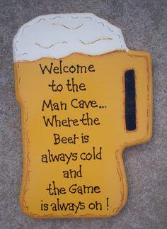 Man Cave Beer Mug Sign
