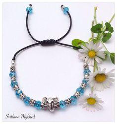 """Bracelet perles cristaux """"Elephant. Bouddha. Karma. Zen. Inde. Méditation"""" cordon en satin . Perles tibétaine. Fermeture coulissante. : Bracelet par perles-et-couronnes"""
