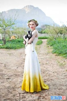 15 Gorgeous Dip Dye Wedding Dresses To Get Inspired - http://www.decorationous.com/interior-decoration/15-gorgeous-dip-dye-wedding-dresses-to-get-inspired.html