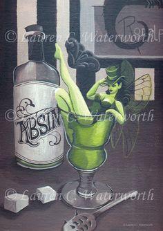 Fée de gothique vert a4 SIZE ART PRINT La ae Vert par LCWaterworth