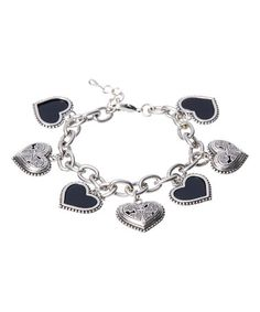 Another great find on #zulily! Black & Silver Grace Heart Charm Bracelet #zulilyfinds