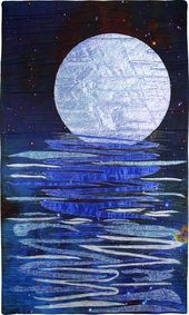 For Moonshine in the Water by Timi Bronson Landscape Art Quilts, Landscape Edging, Landscape Paintings, Landscapes, Arte Judaica, Ocean Quilt, Fractal, All Nature, Quilted Wall Hangings