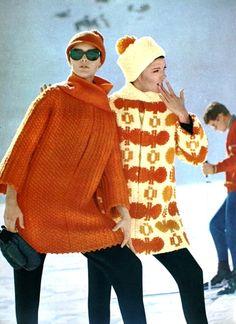 L'Officiel December 1963.  Deux tenues pour la neige de Pierre Cardin. 60s ski fashion.