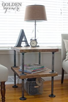 DIY Industrial Side Table - Golden Sycamore - cool pipes team with wood to create industrial charm! Featured on Funky Junk Interiors