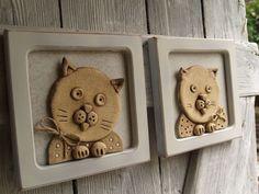 kočka vedle kočky   Mimibazar.cz Air Dry Clay, Coasters, Ceramics Ideas, Pottery Ideas, Clay Ideas, Frame, Ideas, Gatos, Pottery